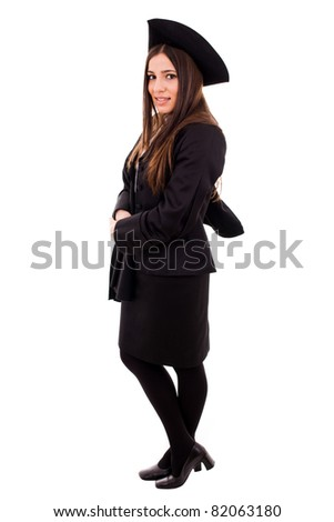 Full body of a graduating student girl in an academic gown. Isolated over white background. - stock photo