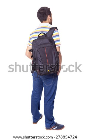Full body of a male student standing from back on white background - stock photo