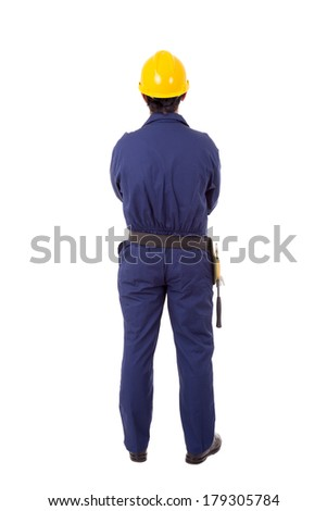 Full body of a worker from back, isolated on white - stock photo