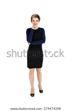 Full body of cheerful beautiful business woman, isolated over white background - stock photo