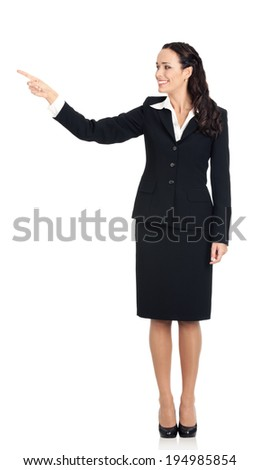 Full body of happy smiling young beautiful business woman showing something or copyspase for product or sign text, isolated over white background