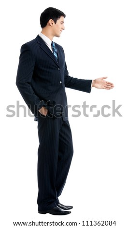 Full body of happy smiling young business man giving hand for handshake, isolated over white background
