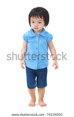 Full body of little Asian girl walking on white background