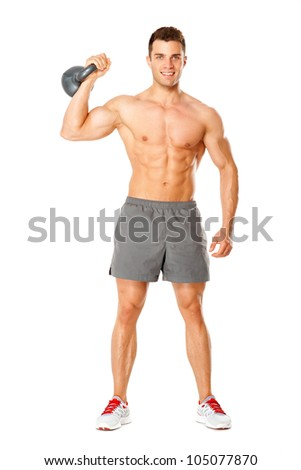 Full body of muscular man exercising with dumbbell on white background - stock photo