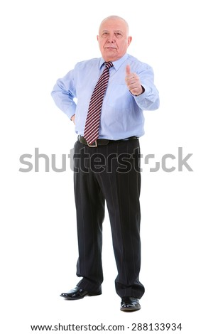 Full body of Self-confident old mature businessman in shirt and tie, raised his thumb up, looking to camera, isolated on white background. Positive human emotion, facial expression - stock photo