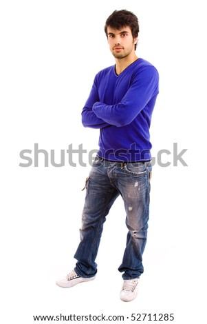 Full body of young casual men on a white background