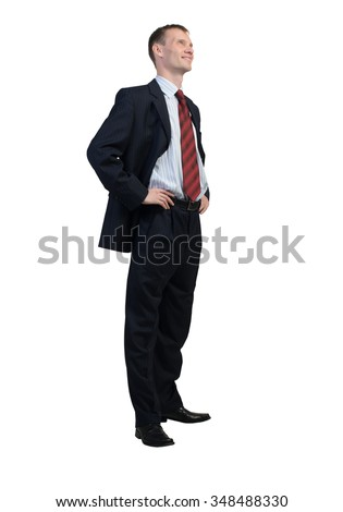 Full body of young confident businessman isolated on white background