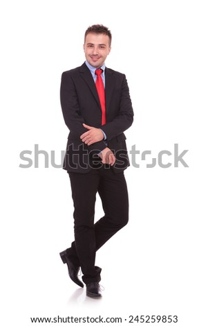 Full body picture of a young business man posing on white studio background, isolated.