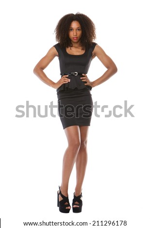Full body portrait of a beautiful black fashion model with dress