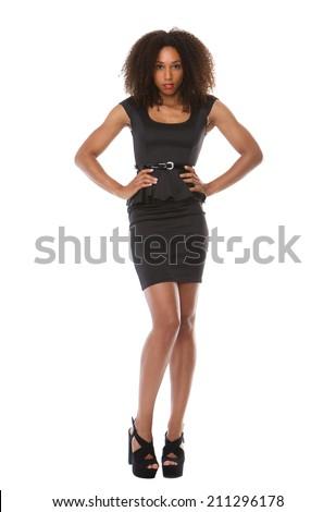 Full body portrait of a beautiful black fashion model with dress - stock photo