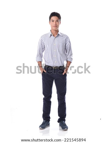 Full body Portrait of a business man isolated on white background - stock photo