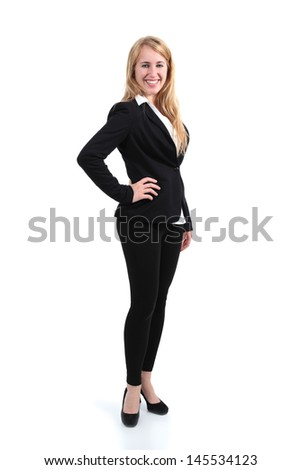 Full body portrait of a businesswoman isolated on a white background