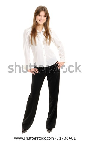 Full body portrait of a businesswoman posing against white background