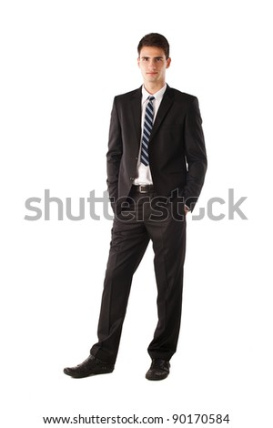 Full body portrait of a casual business man standing against white background