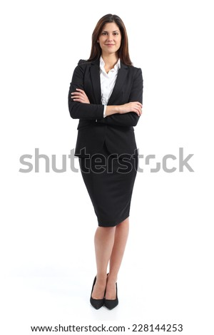 Full body portrait of a confident business woman isolated on a white background