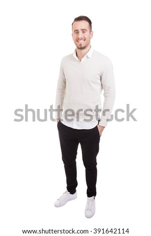Full body portrait of a handsome casual man, isolated on white background - stock photo