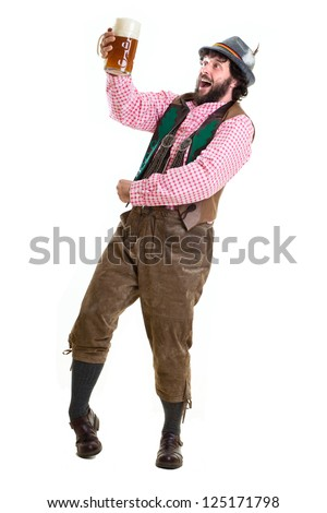 Full body portrait of a middle-aged man in traditional, authentic bavarian dress, cheering with beer. Self-portrait, isolated on white. - stock photo