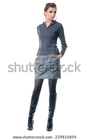 Full body portrait of a stunning young woman posing - stock photo