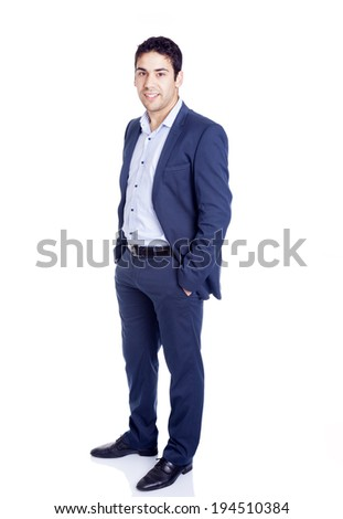 Full body portrait of a successful business man, isolated on white background - stock photo