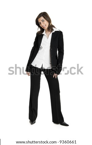 Full body portrait of a young and beautiful business woman isolated on white