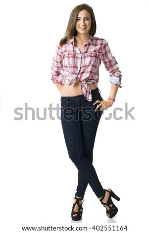 full body portrait of a young beautifull short haired woman