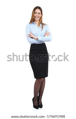 Full body portrait of a young happy standing beautiful business woman isolated on a white background