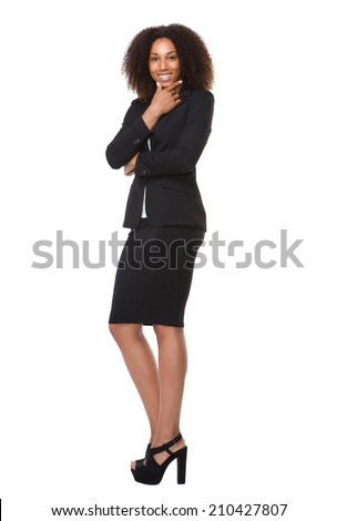 Full body portrait of an attractive female business person smiling