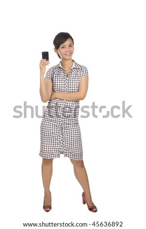 Full Body Portrait of Beautiful Asian Woman holding a cellphone isolated on white background