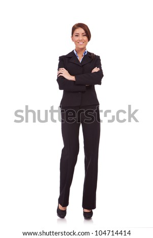 Full body portrait of business woman with crossed arms, isolated on white - stock photo