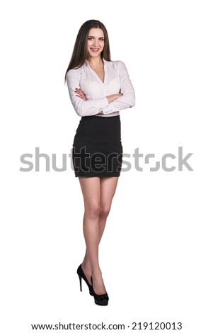 Full body portrait of business woman with crossed arms, isolated on white