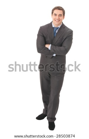 Full body portrait of businessman, isolated on white