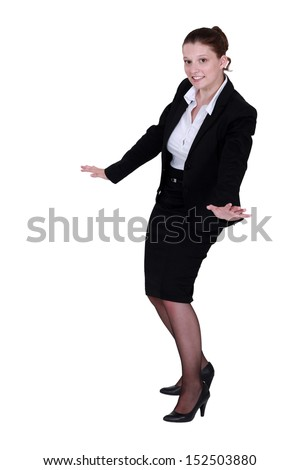full-body portrait of businesswoman as if surfing