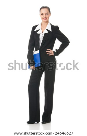 Full body portrait of businesswoman, isolated on white - stock photo