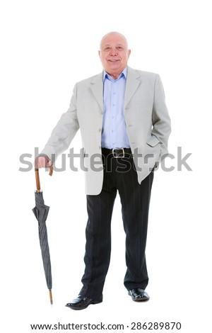 Full body Portrait of happy and smile senior old business man with umbrella, dressed in suit and blue shirt, isolated on white background. Human emotions and facial expressions