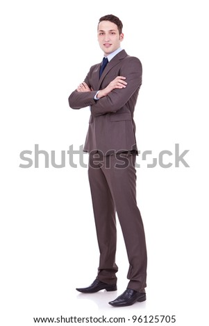 Full body portrait of happy smiling business man, isolated on white background . confident businessman with arms crossed on white backgroun - stock photo