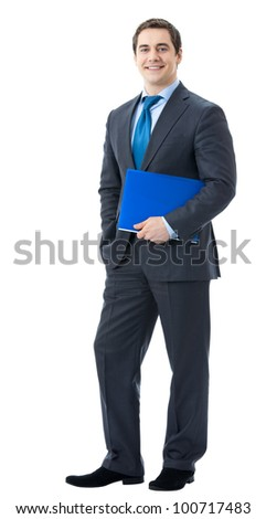 Full body portrait of happy smiling business man with blue folder, isolated over white background