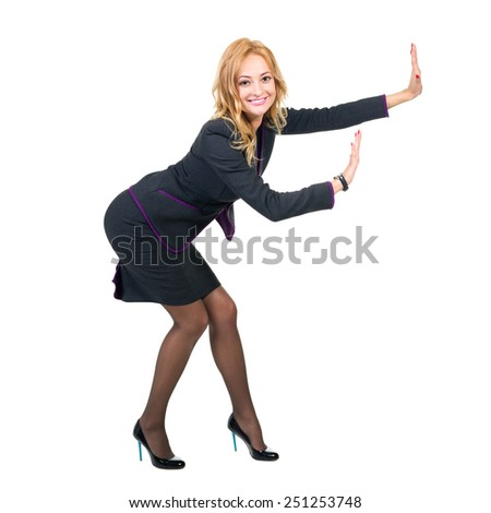 Full body portrait of happy smiling business woman showing something or copyspase for product or sign text, isolated over white background - stock photo