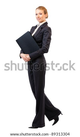 Full body portrait of happy smiling business woman with black folder, isolated on white background - stock photo