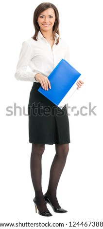 Full body portrait of happy smiling business woman with blue folder, isolated on white background - stock photo