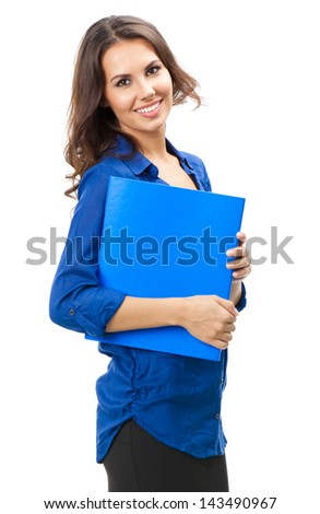 Full body portrait of happy smiling business woman with blue folder, isolated over white background