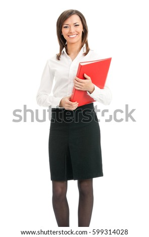 Full body portrait of happy smiling business woman with red folder, isolated on white background