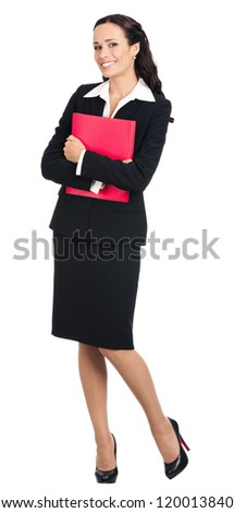 Full body portrait of happy smiling business woman with red folder, isolated over white background