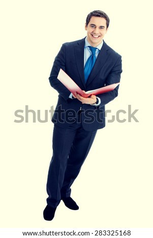 Full body portrait of happy smiling senior businessman with red folder - stock photo