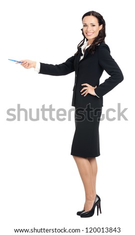 Full body portrait of happy smiling young beautiful business woman showing something or copyspase for product or sign text, isolated over white background
