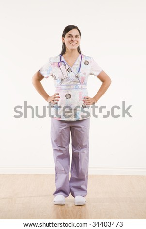 full body portrait of healthcare professional - stock photo