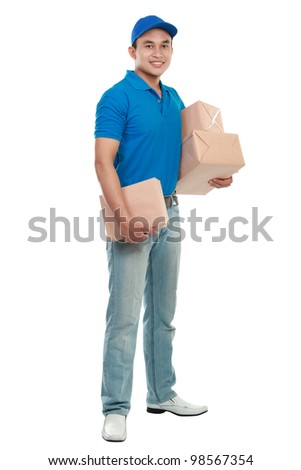 full body portrait of man courier in blue uniform with lots of packages isolated on white - stock photo