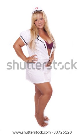 Full body portrait of sexy female nurse. isolated on a white background.