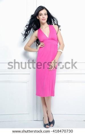 Full body Portrait of sexy model in studio - stock photo