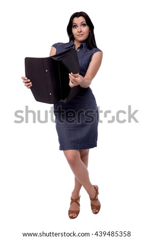 Full body portrait of smiling business woman in dress surprised look with portfolio, briefcase, isolated on white - stock photo
