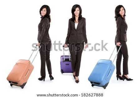 full body portrait of Smiling young business woman with suitcase isolated on white background - stock photo